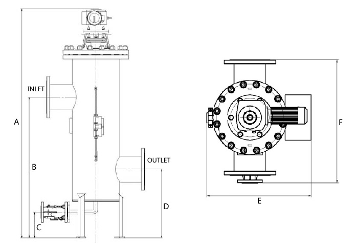 Self Cleaning Filter Strainer SIZE DRAWING